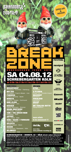 Flyer zum Event 2012-08-04-BREAKZONE 2012 - UNDERGROUND ISSUE@ Schrebergarten